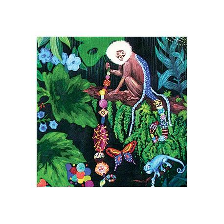 """Magnet carré """"La famille dans la joyeuse verdure (singe)"""""""