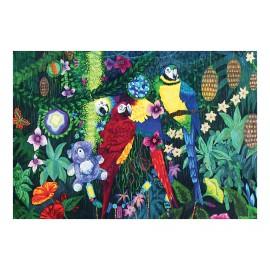 """Magnet rectangulaire """" La famille dans la joyeuse verdure """" (perroquets)"""